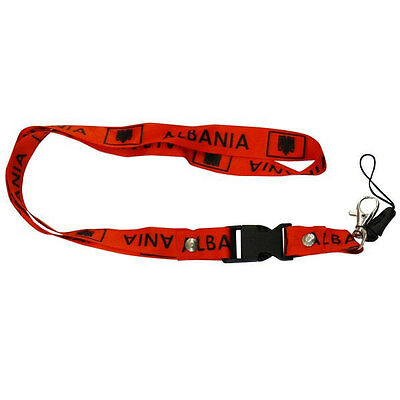 Albania Red Country Flag Lanyard Keychain Passholder ..  New