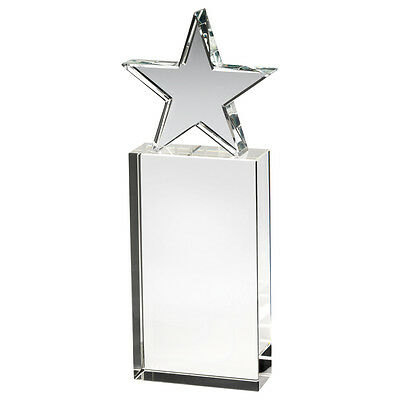 Glass block award with glass star supplied in box - engraved f.o.c.