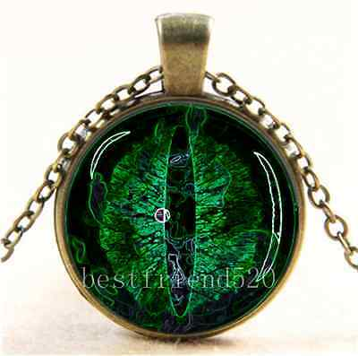 Green Dragon Eye Photo Cabochon Glass Tibet Silver Chain Pendant Necklace