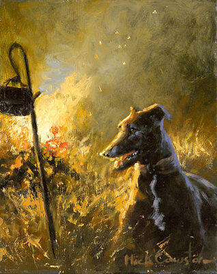 Lurcher Dog, fine art print by Mick Cawston By the Warmth of the Fire
