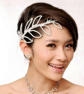 Bridal Bridesmaid Wedding Crystal LEAF Crown Headband Tiara Hair Accessory