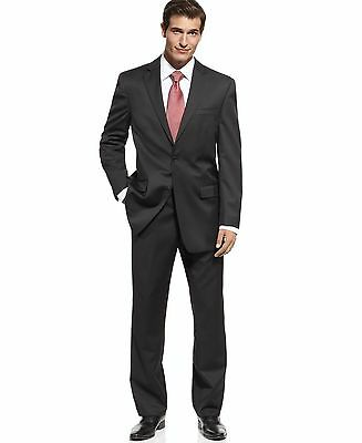 Michael Kors Mens Solid Black Two Button Wool Suit With Flat Front Pants