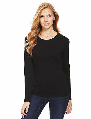 Marks & Spencer Womens Pure Cotton Long Sleeve New Black M&S T Shirt Top Tee