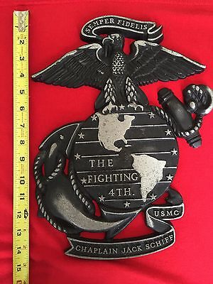 WW2 - 4th Marine Division - Named Plaque - Semper Fidelis - Rare Display