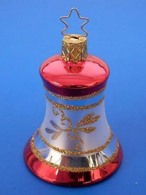 Inge Glas Gold Red Bell Glocke German Blown Glass Christmas Tree Ornament