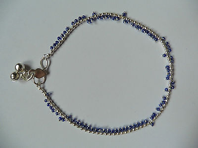One White Metal Silver Colour Indian Anklet with Bells and Various Bead Colours