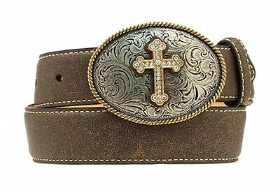 Nocona Western Girls Kids Belt Bronze Cross Buckle Brown N4428002