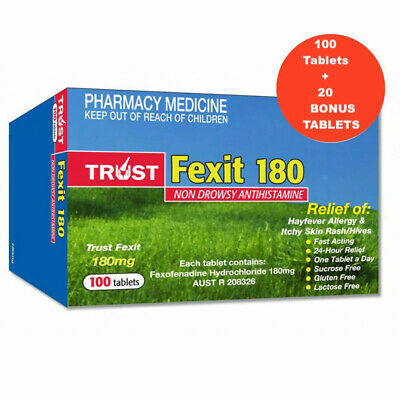 BEST PRICE! SAME AS TELFAST FEXOFENADINE 180MG **100** TABLETS Hayfever Allergy