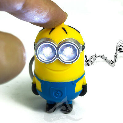 New Despicable Me Minions Movie LED Sound and Light Keychain Key Ring Free Ship