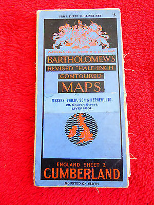 VINTAGE BARTHOLOMEW'S CLOTH SHEET MAP - CUMBERLAND SHEET 3 - c1935