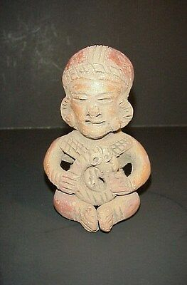 Pre-Columbian Mayan Antique Redware Clay Terracotta Figure Statue Seated Man