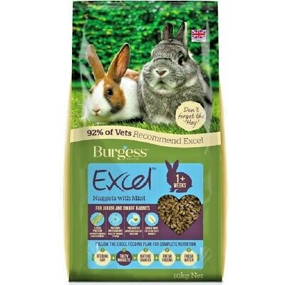 EXCEL RABBIT JUNIOR & DWARF - (2kg - 10kg) - Burgess Nuggets Pet Food vf Feed bp