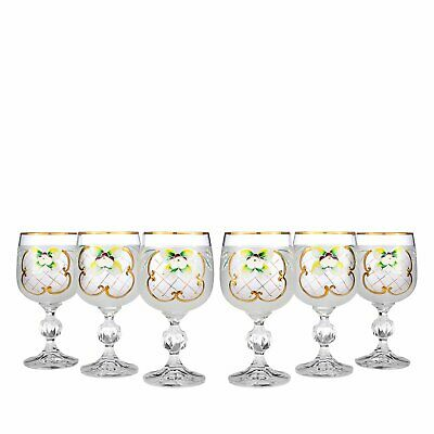 SET 6pc Bohemian Crystal Colored Glasses, Antique WHITE Enamel Wine Goblets