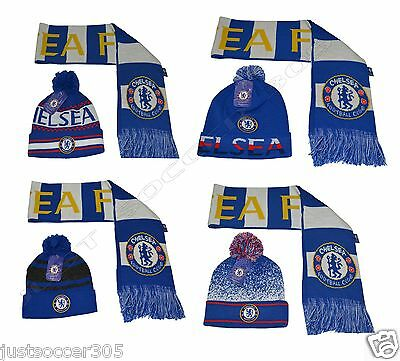 d8380768d4519 Chelsea Scarf Reversible and Beanie hat Cap Soccer Official Merchandise