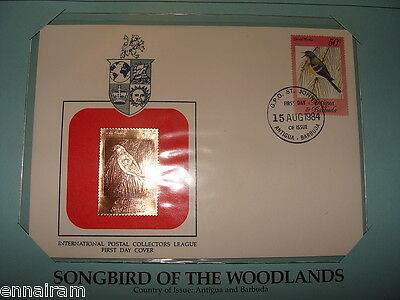 Barbados  FDC w/ 23 kt gold replica Stamp 1984 Woodlands Songbird