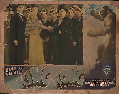 FAY WRAY & BRUCE CABOT in ''King Kong'' Original COLOR LOBBY CARD 1946