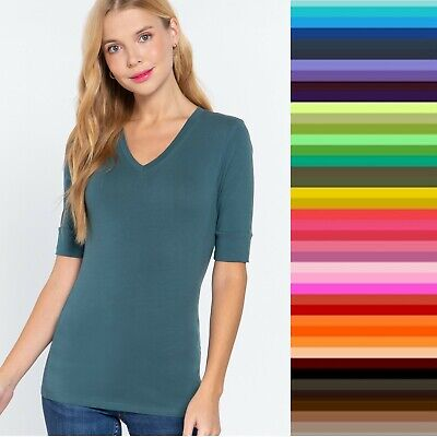 V Neck Elbow Length 3/4 T Shirt Top Active Basic Misses Plus Size Small-3X   USA