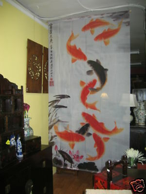 Fabric Screen Curtain Room Divider with Chinese Painting Fish