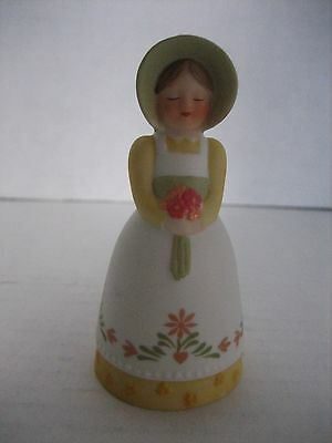 Avon Country Porcelain Bell 1985 Pioneer Woman Green/Yellow/White 3 1/4 in.T. NW