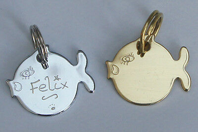 Cat Id Tag Hand Engraved Free Gold Or Silver Cat Cute Fish Tag & Split Ring