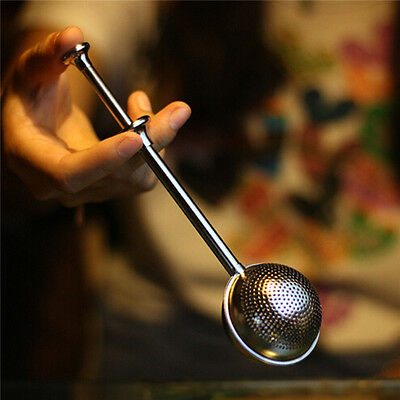 1pc Metal Ball Push Tea Leaf Herbal Lock Infuser Teaspoon Strainer Spice Filter