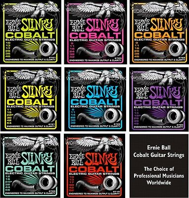 Ernie Ball Cobalt Slinky Guitar strings - Choice of 8 Gauges - Super Power etc.
