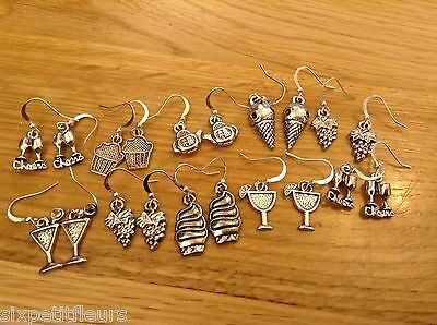 10 pairs silver plated earrings TEA & CAKE mixed  joblot wholesale jewellery