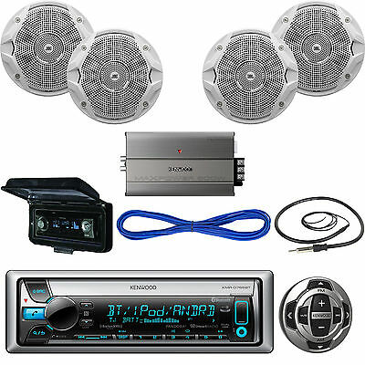 Kenwood Marine Receiver, Wired Remote, Speakers, Amplifier, Wire, Antenna,Cover