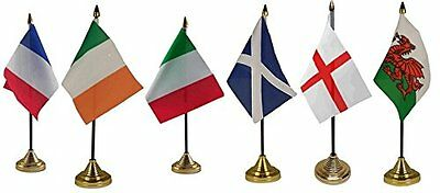 Rugby Six 6 Nations Desktop Table Flag Flags Display Pack With Gold Bases