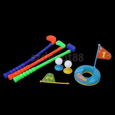 Kids Plastic 3 Golf putter Club 2 Balls 2 Putting Cup 2 Flags 2 tees set Toy