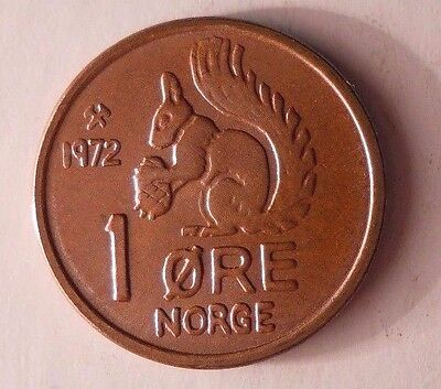 1972 NORWAY ORE - UNCIRCULATED - From Roll - Squirrel Coin - FREE SHIPPING