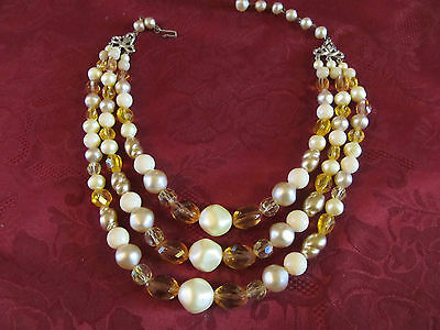 """Vintage Glass Large Bead Necklace Choker Fits 12"""" to 14"""" Neck"""