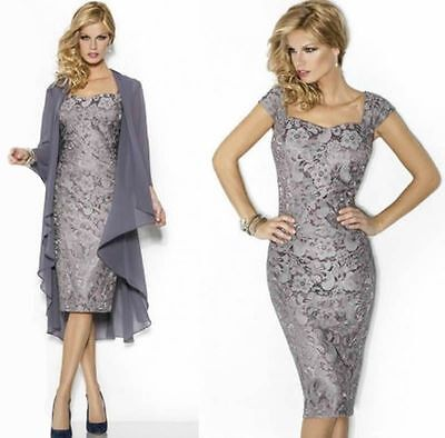 New Lace Mother of the Bride Outfits Evening Party Formal Prom Dress With Jacket