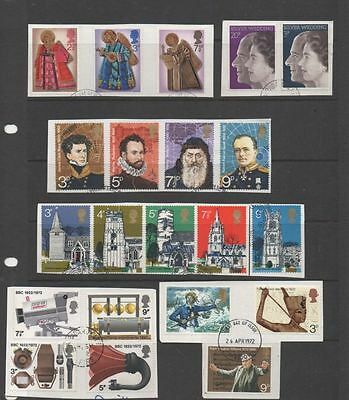 GB 1972 complete year-set of commemoratives 6  fine used sets of stamps on Piece