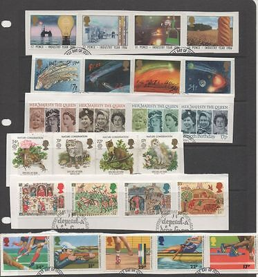 GB 1986 complete year-set of commemoratives 10 fine used sets of stamps on Piece