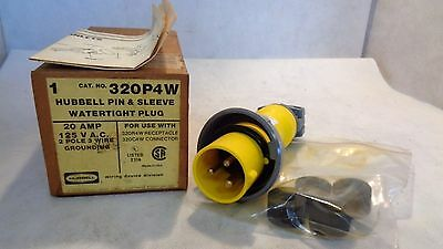 New In Box Hubbell 320P4W Watertight Plug 20 Amp 125 V Ac
