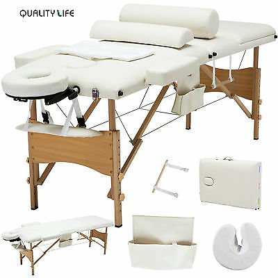 "84""L 3 Fold Portable Facial SPA Bed Massage Table Sheet+2 Bolster+Cradle+Hanger"