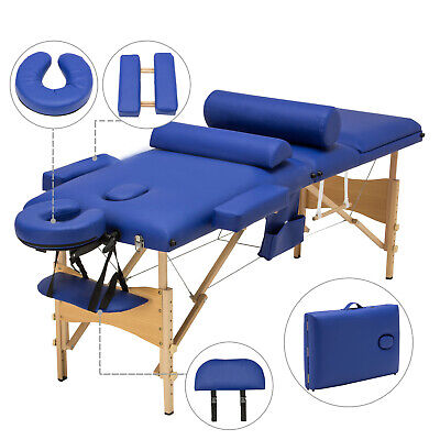 "84""L 3 Fold Portable Facial SPA Bed Massage Table Sheet+2 Bolsters+Cradle+Hanger"