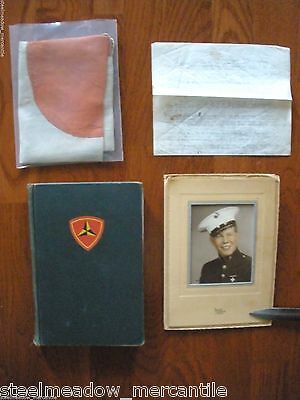 3RD MARINE DIVISION IN WWII + Japanese Flag HC/1st 1948 Iwo Jima Owner's Photo!