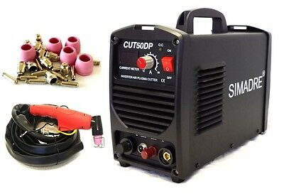 "Simadre Plasma Cutter Pilot Arc 50 Amp 110/220V 25 Cons Easy 1/2"" Clean Cut"