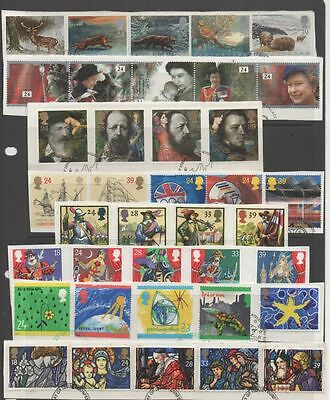 GB 1993 complete year-set of commemoratives 9 fine used sets of stamps on Piece
