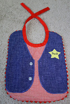 VINTAGE Infant Baby Toddler SHERIFF BIB Western Cute Photo Prop Vest Denim Adult