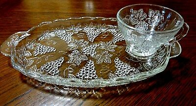 Vintage Clear Glass Serving Snack Tray With Tea Cup And Grape Pattern Design