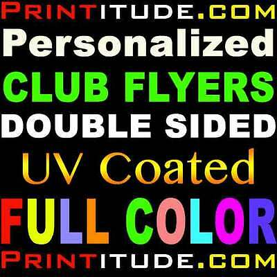 500 CLUB FLYERS 4.25x2.75 FULL COLOR UV GLOSS 2 SIDED 14PT POSTCARD OFFSET PRINT