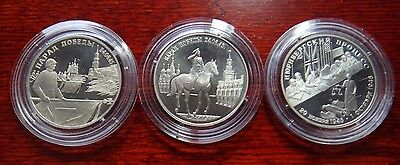 Russia 3 X 2 Ruble 1995 Silver Proof In Capsule 50 Years Wwii Victory Rare Coins