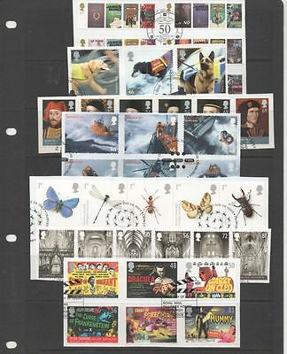 GB 2008 complete year-set of commemoratives 11 fine used sets of stamps on Piece