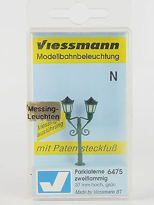 6475 VIESSMANN - ESCALA N / FAROL CLASICO DOBLE 37MM VERDE / N Park lamp, double