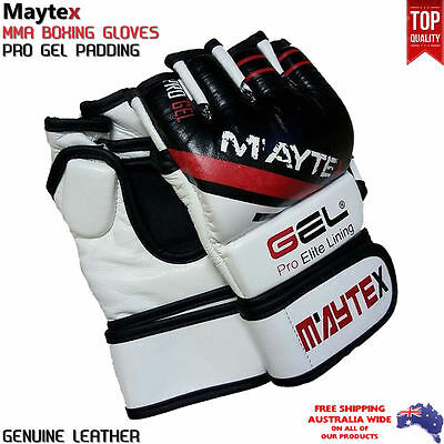 MMA Boxing UFC Authentic Leather Gloves 7OZ, Gel Integrated, Genuine Cow Hide