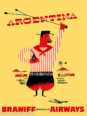 Argentina by Air South America American Vintage Travel Advertisement Poster