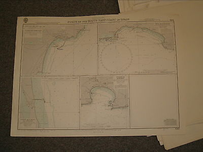 Vintage Admiralty Chart 1544 PORTS ON THE SOUTH EAST COAST OF SPAIN 1968 edn
